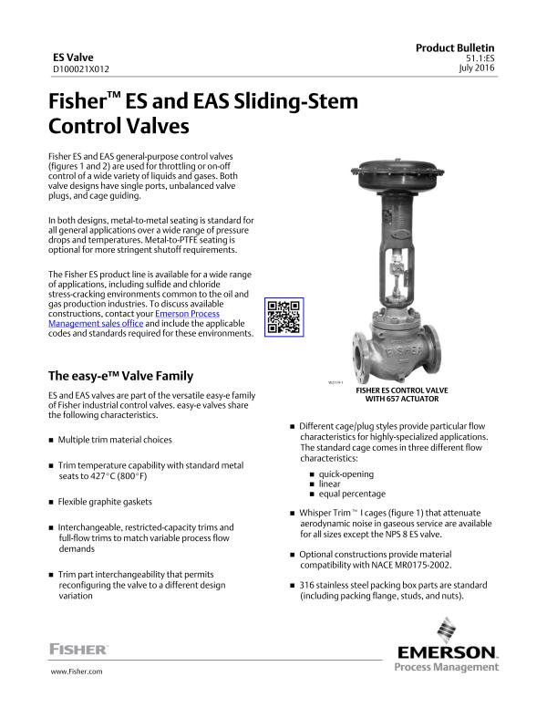 Universal Globe Valves Fisher easy-e™ ES Valve-Emerson