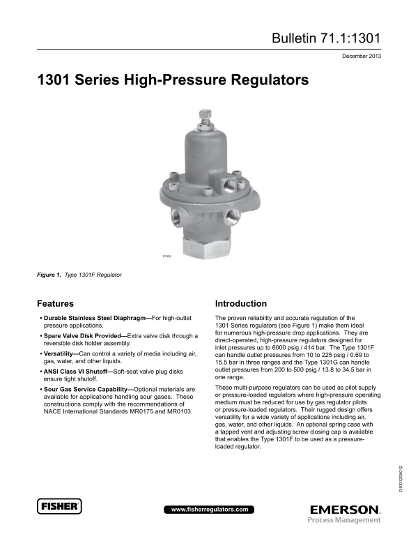 Types 1301F and 1301G High Pressure Regulators-Emerson