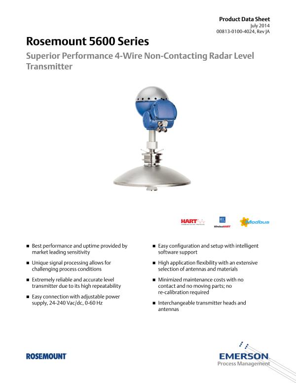 Rosemount 5600 Non-contact Radar Level Sensor-Emerson Process