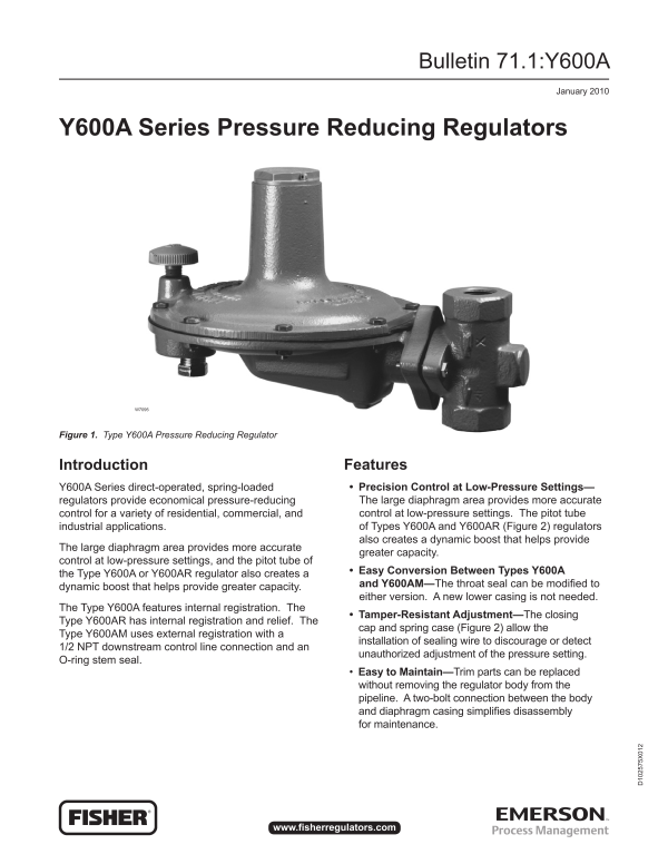 Y600A Series Pressure Reducing Regulators-Emerson Process Management