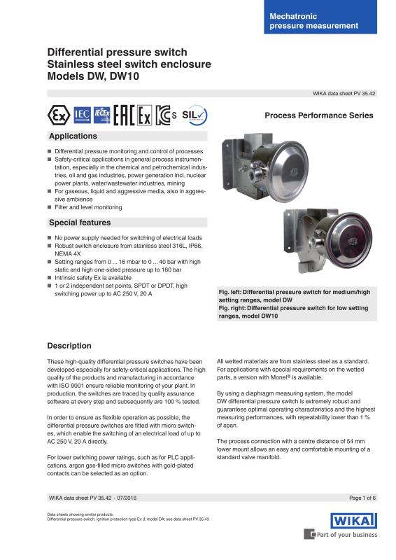 Differential pressure switch DW, DW10-WIKA Instrument, LP