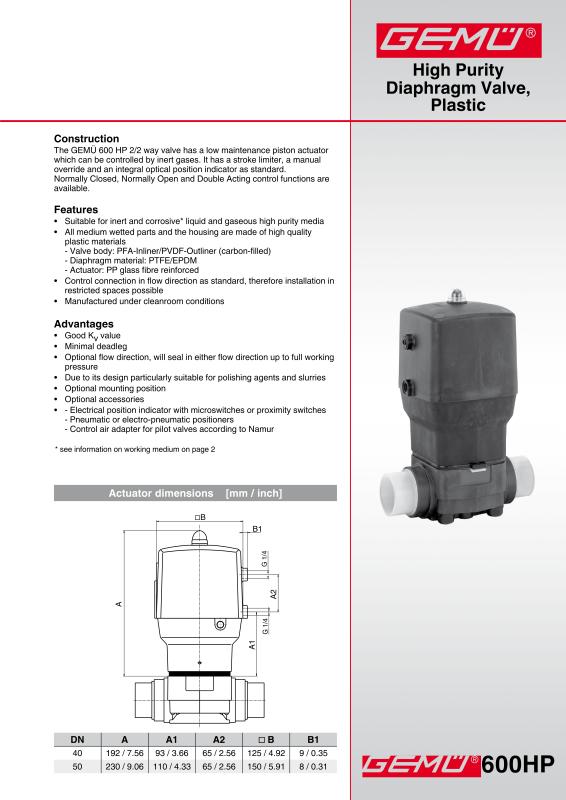 Gemu 600 hp high purity diaphragm valve plastic gem gebrder gemu 600 hp high purity diaphragm valve plastic data sheetpdf ccuart Image collections