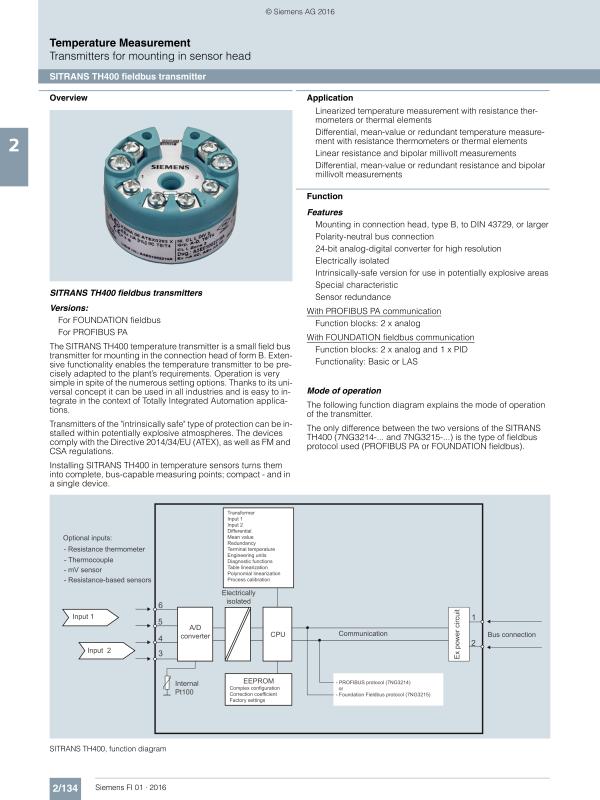 head transmitter sitrans th400 593 kb germany