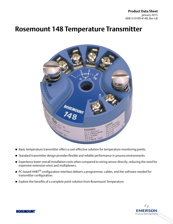 2017040114490651901 rosemount 148 analog temperature transmitter emerson process rosemount 3051s wiring diagram at crackthecode.co