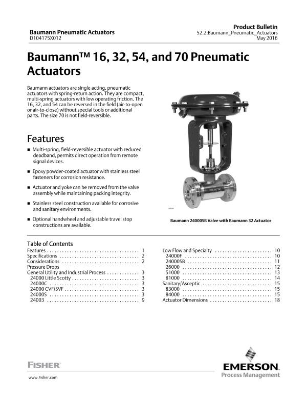 Universal Globe Valves Fisher Baumann™ 24000CVF/SVF Valve-Emerson