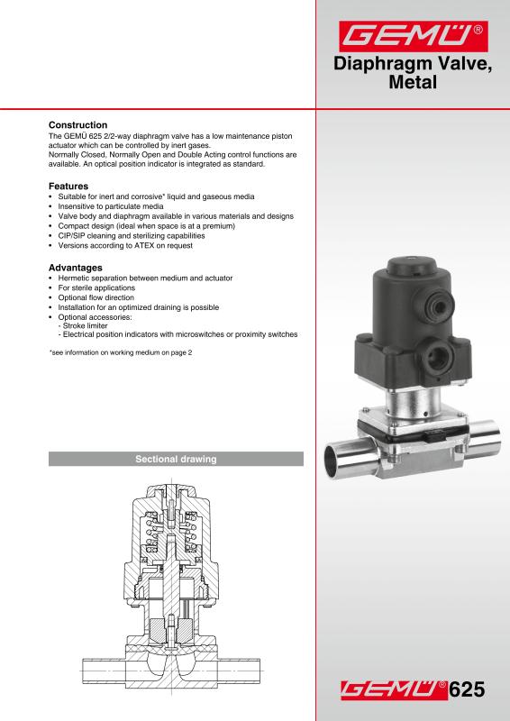 Gemu type 625 sanitary diaphragm valve pneumatically actuated gem gemu type 625 sanitary diaphragm valve pneumatically actuated data sheet 2pdf ccuart Gallery