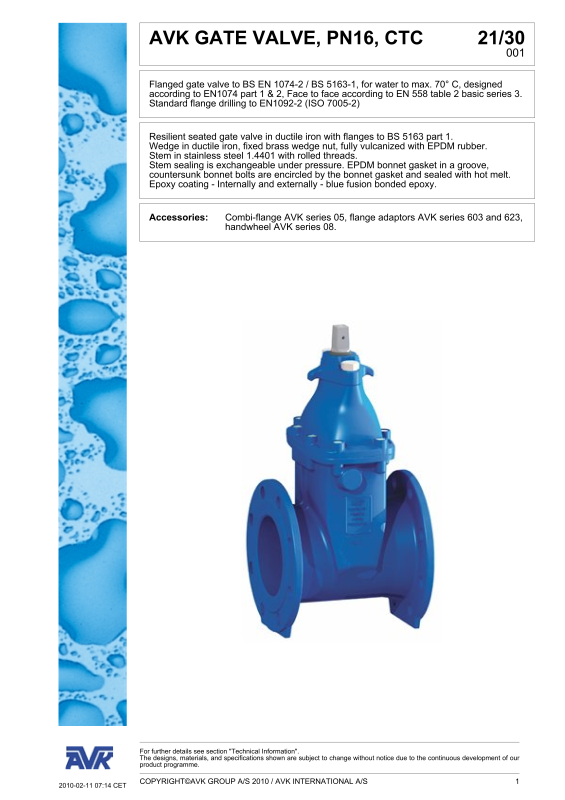 AVK RESILIENT SEATED GATE VALVE, 21/30-001-AVK HOLDING A/S